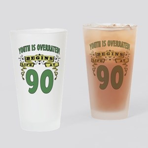 Life Begins At 90 Drinking Glass