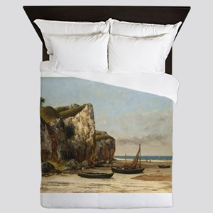 Gustave Courbet - Beach in Normandy Queen Duvet