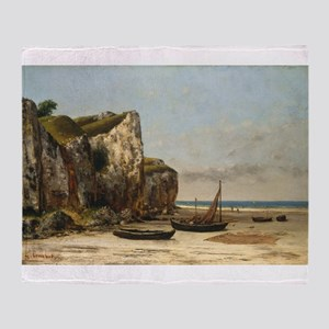 Gustave Courbet - Beach in Normandy Throw Blanket