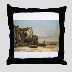 Gustave Courbet - Beach in Normandy Throw Pillow