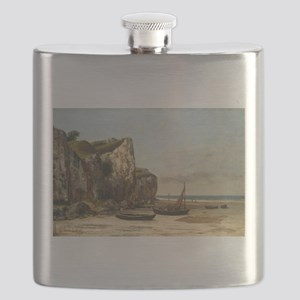 Gustave Courbet - Beach in Normandy Flask