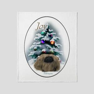 Pekingese Christmas Throw Blanket