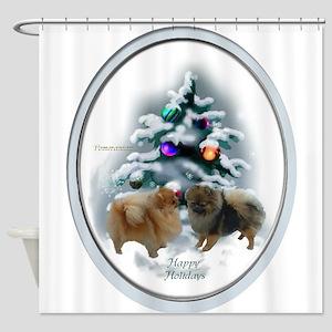 Pomeranian Christmas Shower Curtain