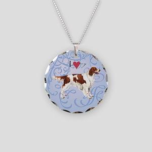 Irish Red & White Setter Necklace Circle Charm