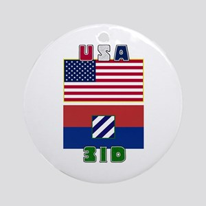 US and 3ID Flags Ornament (Round)