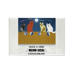 Meow-sical Chanukkah Rectangle Magnet (100 pack)