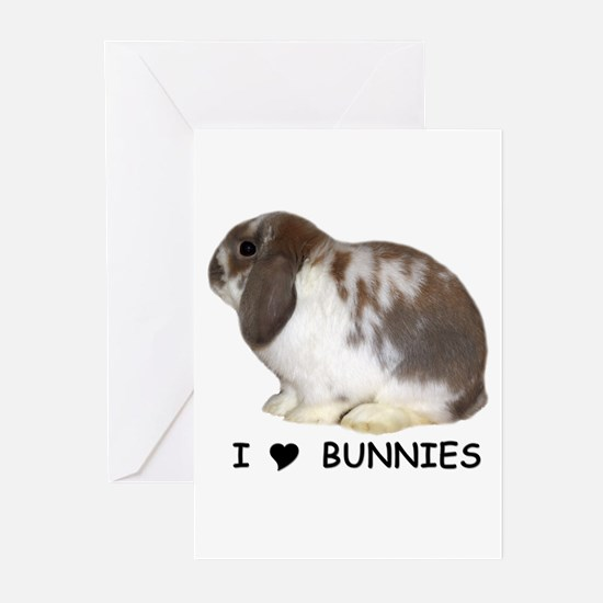 """""""I love bunnies 1"""" Greeting Cards (Pk of 10)"""
