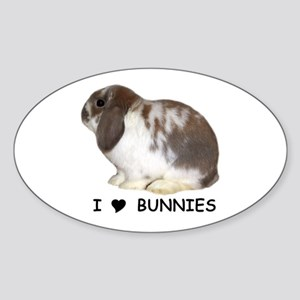 """I love bunnies 1"" Oval Sticker"