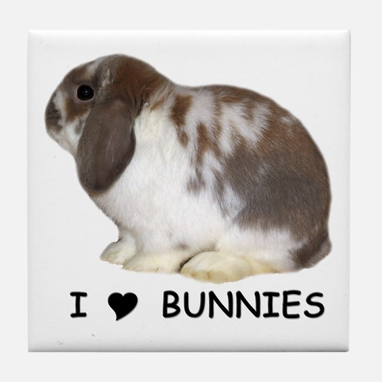 """I love bunnies 1"" Tile Coaster"