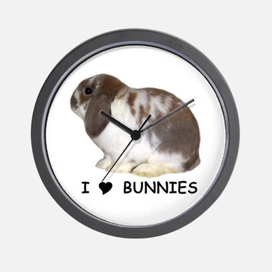 """I love bunnies 1"" Wall Clock"