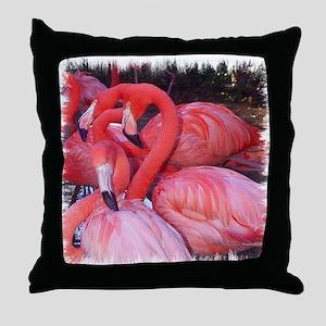 AMERICAN PINK FLAMINGOS Throw Pillow