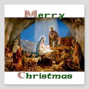 "Merry Christmas Square Car Magnet 3"" x 3"""