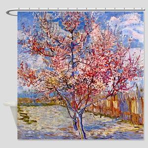 Van Gogh Pink peach tree blossom Shower Curtain