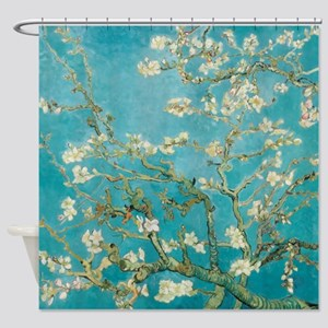 Van Gogh Almond tree flowers - Blue Shower Curtain