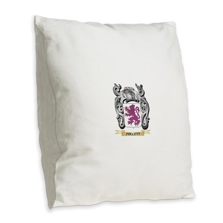 Follett Coat of Arms - Family Burlap Throw Pillow