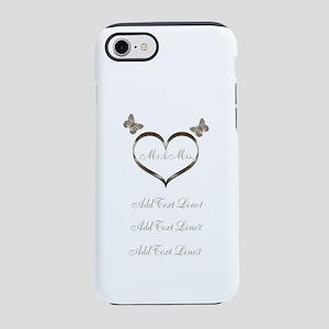 Pretty Add Text Gold Heart Wedding iPhone 7 Tough