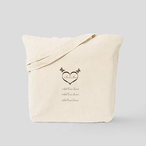 Pretty Add Text Gold Heart Wedding Tote Bag