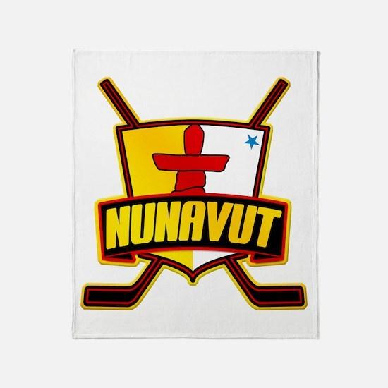 Nunavut Hockey Flag Logo Throw Blanket