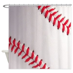 White Baseball Red Stitching Shower Curtains