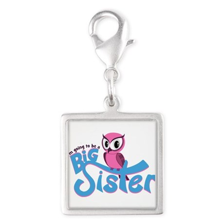 Girly Going to be a Big Sister Silver Square Charm