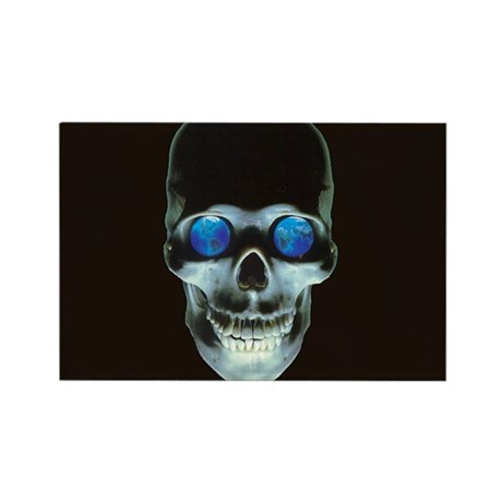 Skull and World Rectangle Magnet (10 pack)
