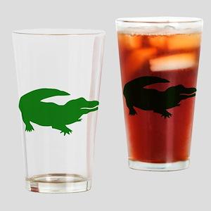 Green Alligator Silhouette Drinking Glass
