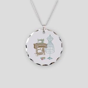 Dressmaker Necklace Circle Charm