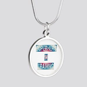 Superhero in Training Silver Round Necklace