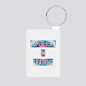 Superhero in Training Aluminum Photo Keychain
