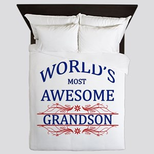 World's Most Awesome Grandson Queen Duvet
