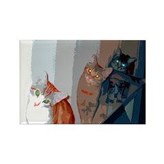 Three Kitties Rectangle Magnet (100 pack)