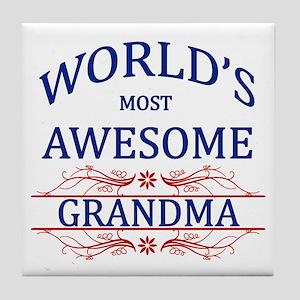World's Most Awesome Grandma Tile Coaster