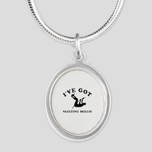 I've got Vaulting skills Silver Oval Necklace