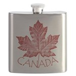 Canada Souvenir Flask Vintage Canadian Maple Leaf