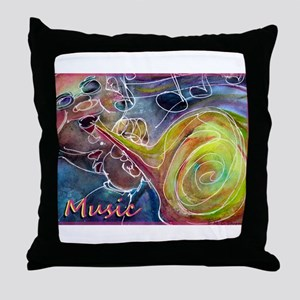 Music, colorful art Throw Pillow