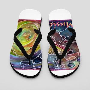 Music, colorful art Flip Flops