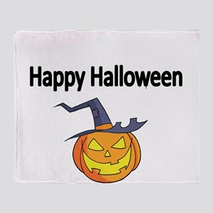 Happy Halloween with scary pumpkin Throw Blanket