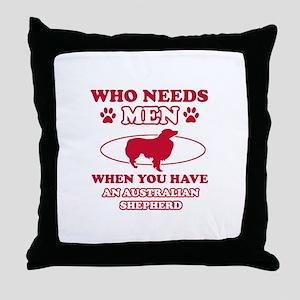 Australian Shepherd mommy designs Throw Pillow