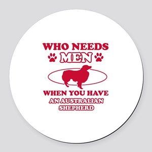 Australian Shepherd mommy designs Round Car Magnet