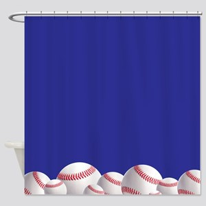 Navy blue baseball Shower Curtain