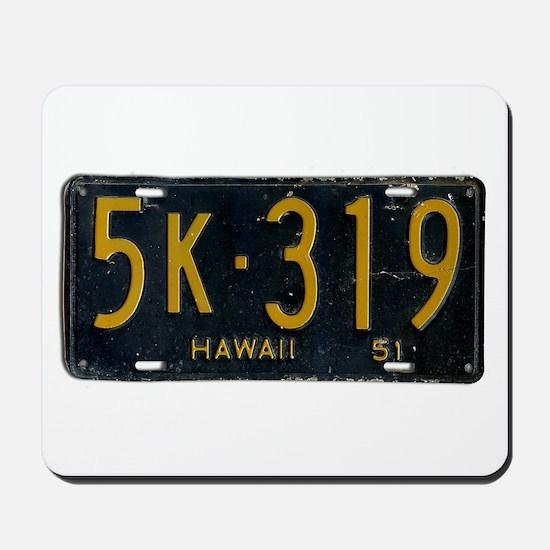 Hawaii 1951 License Plate Mousepad