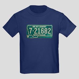 1974 Montana License Plate Kids Dark T-Shirt