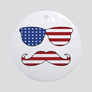 Patriotic Funny Face Ornament (Round)