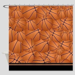 Orange and Black basketball Shower Curtain