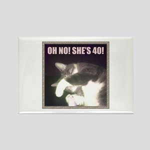 Funny 40th Birthday (Cat) Rectangle Magnet