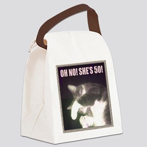 Funny 50th Birthday (Cat) Canvas Lunch Bag