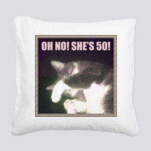 Funny 50th Birthday (Cat) Square Canvas Pillow