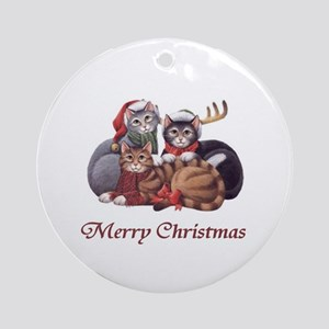Merry Christmas Cats Ornament (Round)