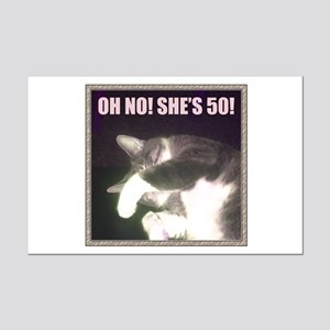 Funny 50th Birthday (Cat) Mini Poster Print