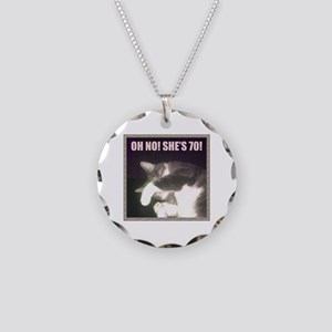 Funny 70th Birthday (Cat) Necklace Circle Charm